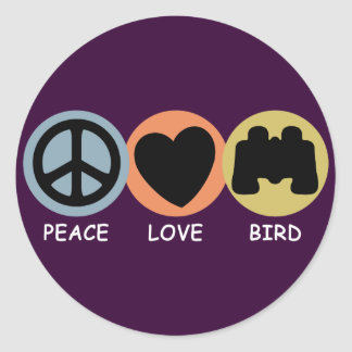 Peace Love Bird Classic Round Sticker