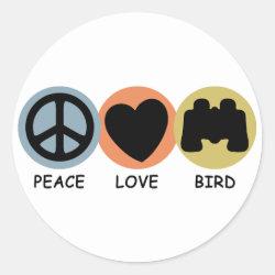 Round Sticker with Peace Love Bird design