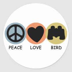 Round Sticker with Peace Love Bird design