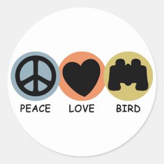 Peace Love Bird Classic Round Sticker