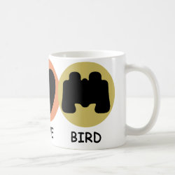 Classic White Mug with Peace Love Bird design