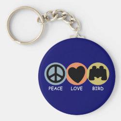 Basic Button Keychain with Peace Love Bird design