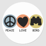 Peace Love Bird Round Stickers