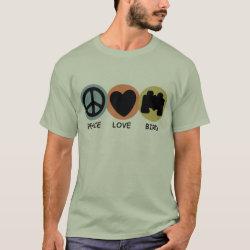 Men's Basic T-Shirt with Peace Love Bird design