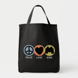 Grocery Tote with Peace Love Bird design