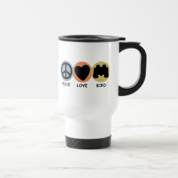 Travel / Commuter Mug with Peace Love Bird design