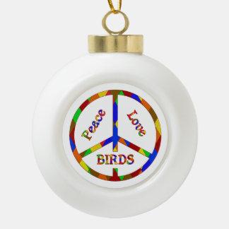 Peace Love Birds Ceramic Ball Christmas Ornament