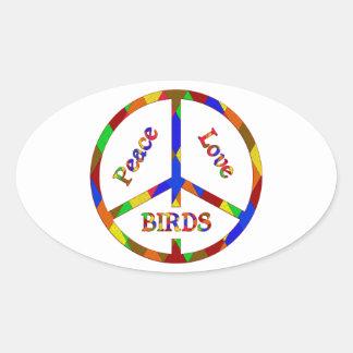 Peace Love Birds Oval Sticker