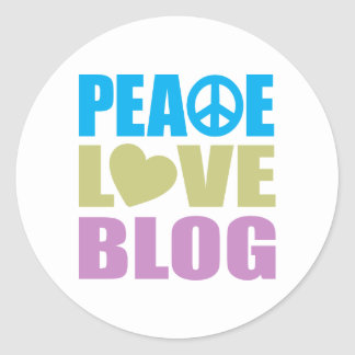 Peace Love Blog Classic Round Sticker