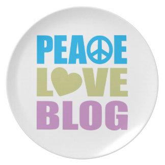 Peace Love Blog Melamine Plate