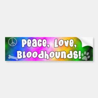 Peace Love Bloodhounds Bumper Sticker