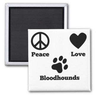 Peace Love Bloodhounds 2 Inch Square Magnet