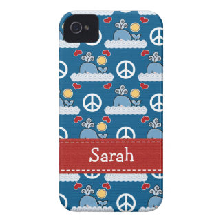 Peace Love Blue Whale iPhone 4 4s Case-Mate Cover