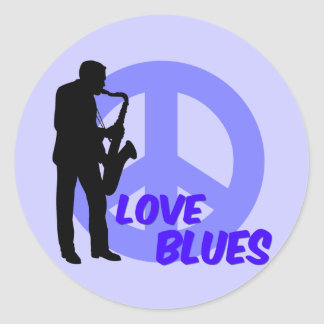 Peace love blues classic round sticker