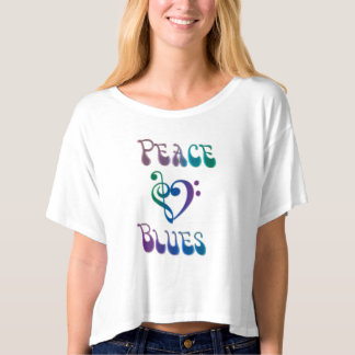 Peace Love Blues Cropped Flowy T-Shirt