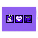 Peace love blues greeting card