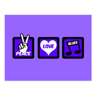 Peace love blues postcard
