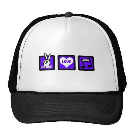 Peace love blues trucker hat