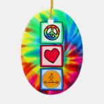 Peace, Love, Bodybuilding Christmas Tree Ornament