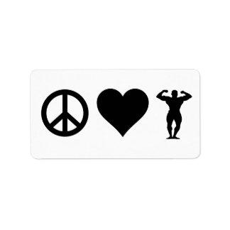 Peace Love Bodybuilding Label