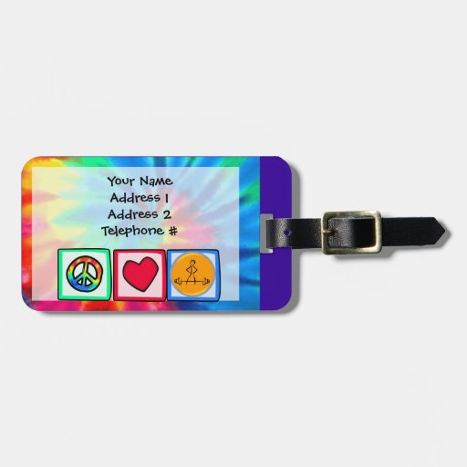 Peace, Love, Bodybuilding Travel Bag Tag