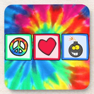 Peace, Love, Bombs Beverage Coaster