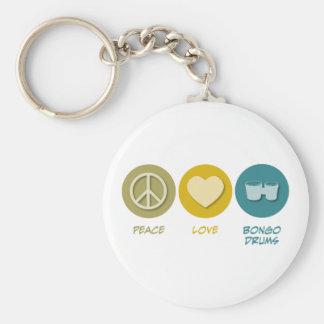 Peace Love Bongo Drums Key Chains
