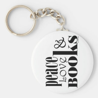 Peace Love Books Basic Round Button Keychain