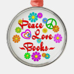 Peace Love Books Christmas Tree Ornament