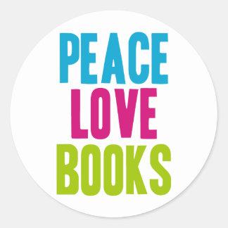 Peace Love Books Classic Round Sticker