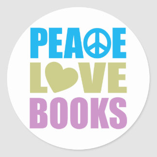 Peace Love Books Classic Round Sticker