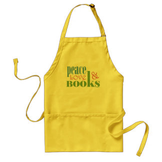 Peace Love Books II Adult Apron