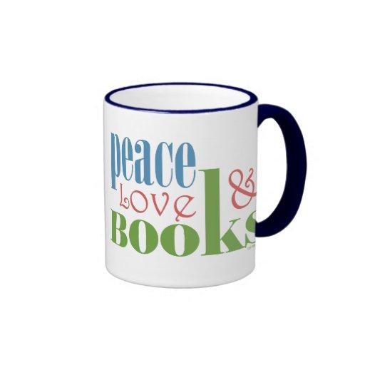 Peace Love Books II Mugs