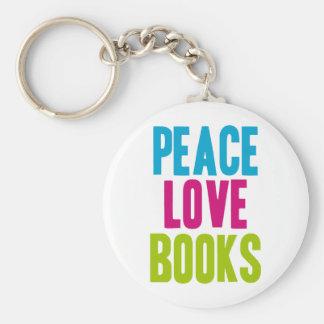 Peace Love Books Keychain