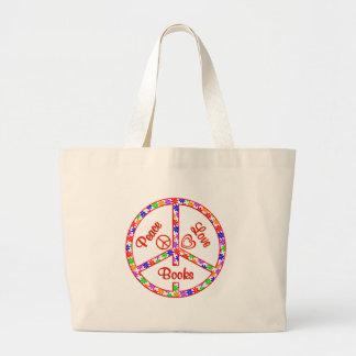 Peace Love Books Large Tote Bag
