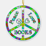 Peace Love Books Double-Sided Ceramic Round Christmas Ornament
