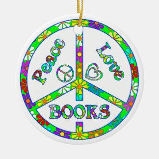 Peace Love Books Christmas Ornaments