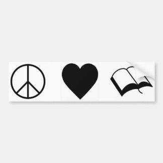Peace, Love, Books/Reading Bumper Sticker