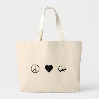 Peace, Love, Books/Reading Large Tote Bag