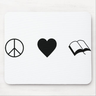 Peace, Love, Books/Reading Mouse Pad