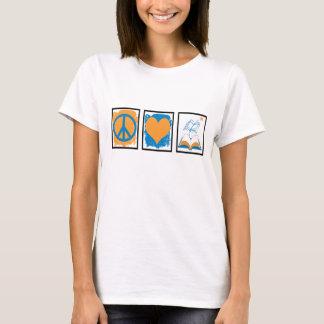 Peace, love, books t-shirt