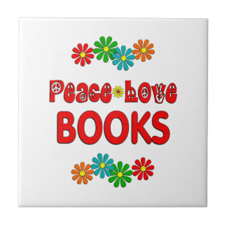 Peace Love Books Ceramic Tiles