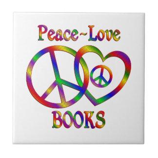 Peace Love Books Tile
