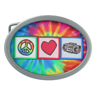 Peace, Love, Boombox Oval Belt Buckle
