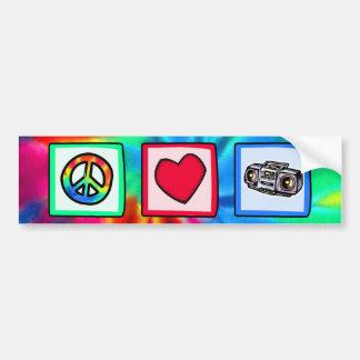 Peace, Love, Boombox Car Bumper Sticker