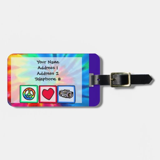 Peace, Love, Boombox Travel Bag Tag