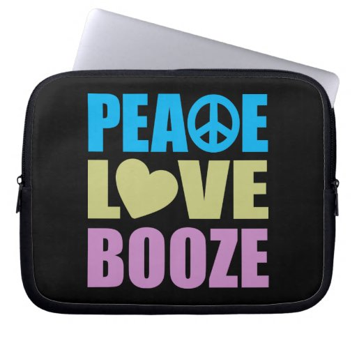 Peace Love Booze Laptop Computer Sleeves
