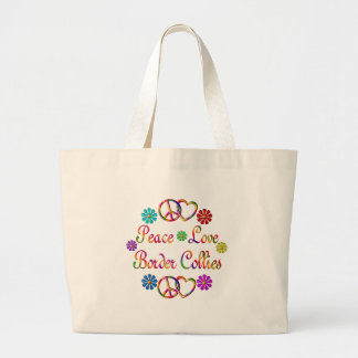 PEACE LOVE BORDER COLLIES LARGE TOTE BAG