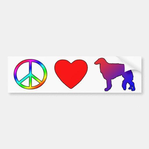 Peace Love Borzois Car Bumper Sticker