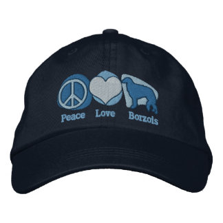 Peace Love Borzois Embroidered Hat (Blues)